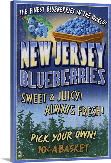 New Jersey - Blueberry Farm Vintage Sign: Retro Travel Poster Wall ...