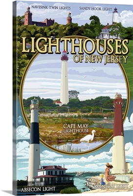 New Jersey - Lighthouse Montage Scenes: Retro Travel Poster