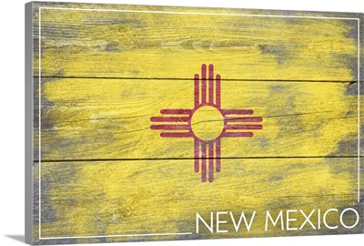 New Mexico State Flag on Wood