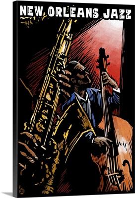 New Orleans, Louisiana, Jazz Band, Scratchboard