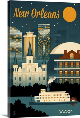 New Orleans, Louisiana, Retro Skyline