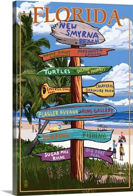 New Smyrna Beach, Florida - Destinations Signpost: Retro Travel Poster