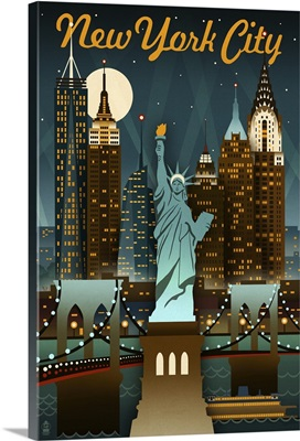 New York City, New York - Retro Skyine: Retro Travel Poster