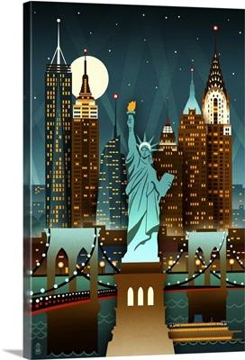 New York City, New York, Retro Skyline