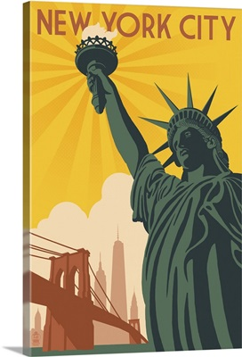 New York City, New York, Statue of Liberty and Bridge