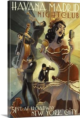 New York City, NY - Havana Madrid Nightclub: Retro Travel Poster