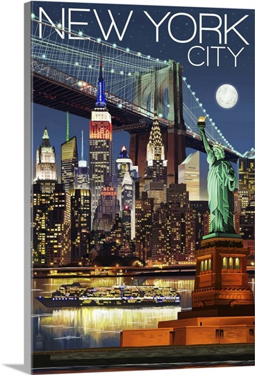 new york city ny skyline at night retro travel poster. Black Bedroom Furniture Sets. Home Design Ideas