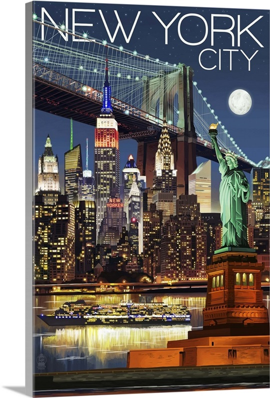 New York City Wall Art new york city, ny - skyline at night: retro travel poster wall art