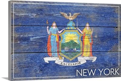 New York State Flag, Barnwood Painting