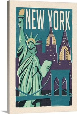 New York -  Woodblock: Retro Travel Poster