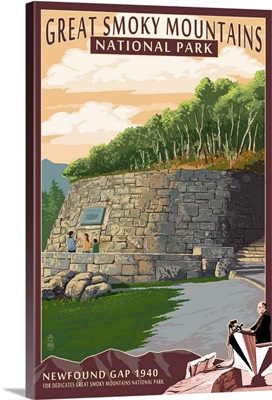 Newfound Gap - Great Smoky Mountains National Park, TN: Retro Travel Poster