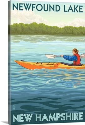 Newfound Lake, New Hampshire - Kayak Scene: Retro Travel Poster