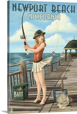 Newport Beach, California, Fishing Pinup Girl
