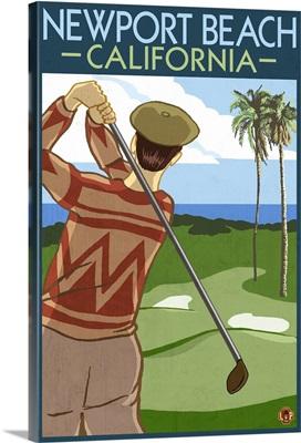 Newport Beach, California - Golfer: Retro Travel Poster