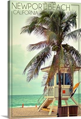 Newport Beach, California, Lifeguard Shack and Palm