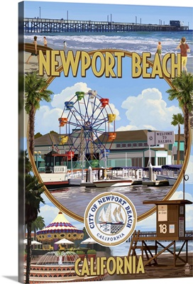 Newport Beach, California - Newport Beach Montage: Retro Travel Poster