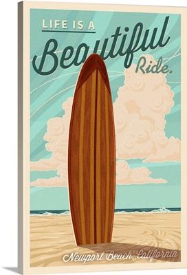 Newport Beach, California, Surf Board Letterpress, Life is a Beautiful Ride