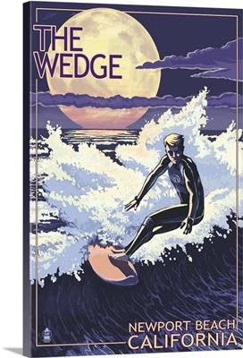 Newport Beach, California - Surfing The Wedge: Retro Travel Poster