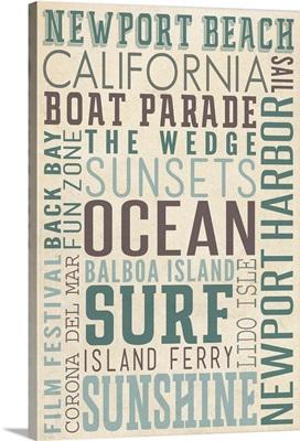 Newport Beach, California, Typography