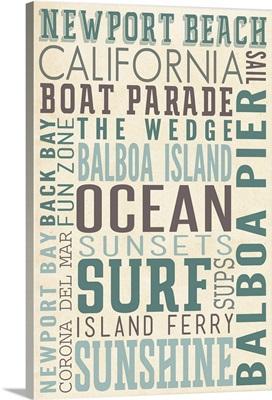 Newport Beach, California, Typography (