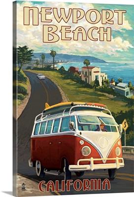 Newport Beach, California - VW Van Cruise: Retro Travel Poster