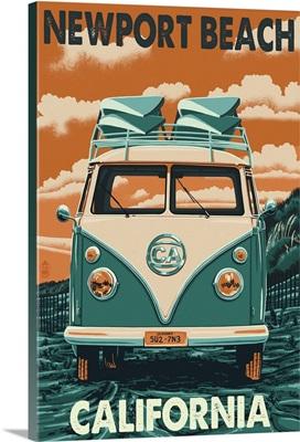 Newport Beach, California - VW Van : Retro Travel Poster