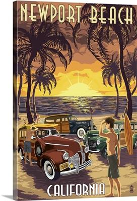 Newport Beach, California - Woodies and Sunset: Retro Travel Poster