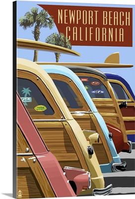 Newport Beach, California - Woodies Lined Up: Retro Travel Poster