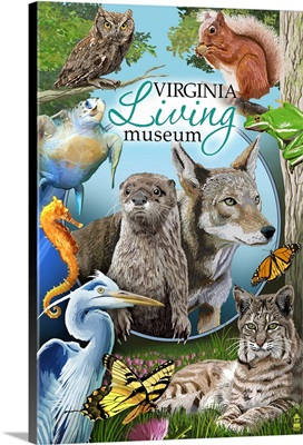 Newport News, Virgina - Virginia Living Museum: Retro Travel Poster