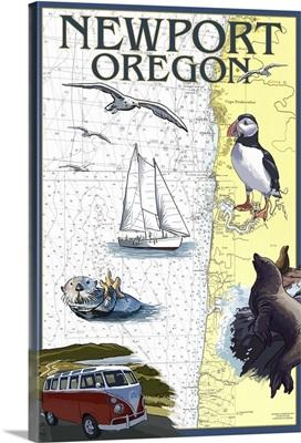 Newport, Oregon - Nautical Chart: Retro Travel Poster