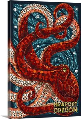 Newport, Oregon - Octopus Mosaic: Retro Travel Poster