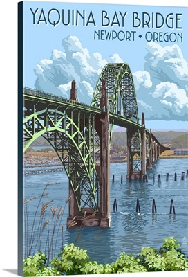 Newport, Oregon - Yaquina Bay Bridge: Retro Travel Poster