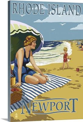 Newport, Rhode Island - Beach Scene: Retro Travel Poster