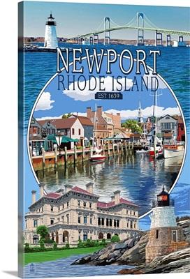 Newport, Rhode Island - Montage Scenes: Retro Travel Poster