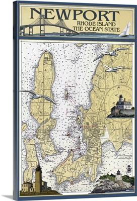 Newport, Rhode Island Nautical Chart: Retro Travel Poster