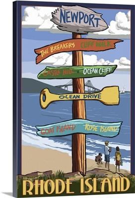 Newport, Rhode Island - Sign Destinations: Retro Travel Poster