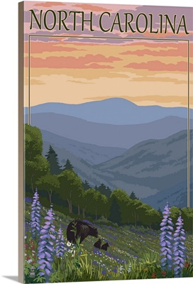 North Carolina - Bear and Cubs with Spring Flowers: Retro Travel Poster