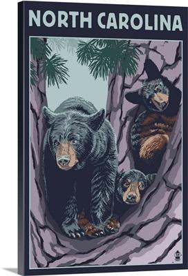 North Carolina - Bears in Tree: Retro Travel Poster
