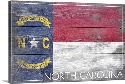 North Carolina State Flag on Wood