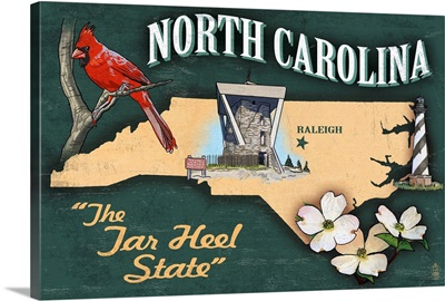 North Carolina - State Icons: Retro Travel Poster
