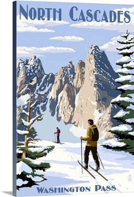 North Cascades, Washington - Cross Country Skiing: Retro Travel Poster