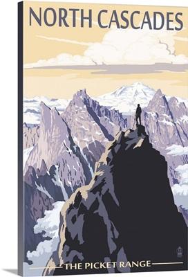 North Cascades, Washington - Mountain Peaks: Retro Travel Poster