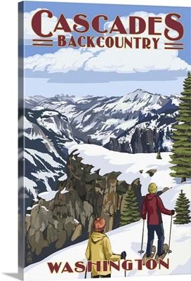 North Cascades, Washington - Showshoer Scene: Retro Travel Poster