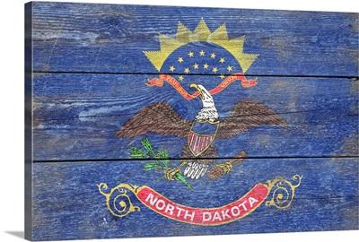 North Dakota State Flag on Wood
