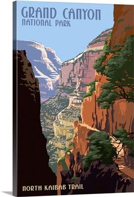 North Kaibab Trail - Grand Canyon National Park: Retro Travel Poster