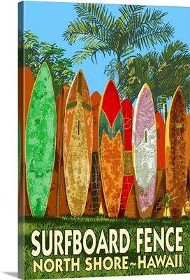 North Shore, Hawaii - Surfboard Fence: Retro Travel Poster