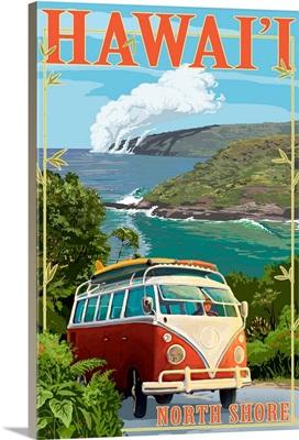 North Shore, Hawaii, VW Van Coastal