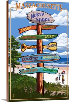 North Shore, Massachusetts - Sign Destinations: Retro Travel Poster