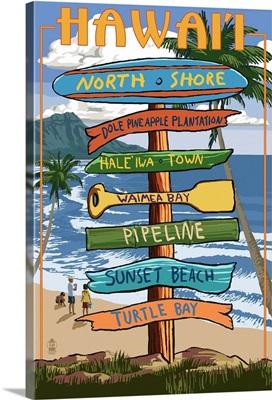 North Shore, Oahu, Hawaii - Sign Destinations: Retro Travel Poster