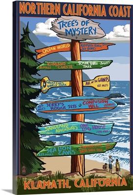 Northern California Coast - Destination Sign: Retro Travel Poster